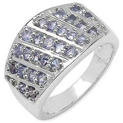 0.85 Carat Genuine Tanzanite .925 Sterling Silver Ring
