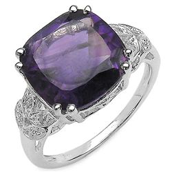 6.05 Carat Genuine Amethyst & White Topaz .925 Sterling Silver Ring