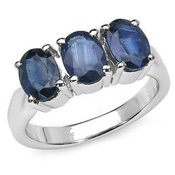 3.00 Carat Blue Sapphire .925 Sterling Silver Rings