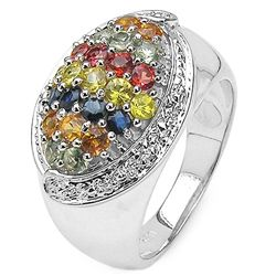 1.53 Carat Genuine Multisapphire .925 Sterling Silver Ring