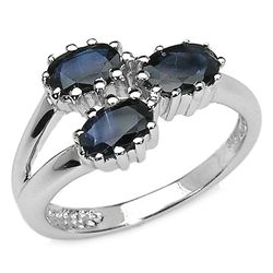 1.95 Carat Genuine Blue Sapphire .925 Sterling Silver Ring