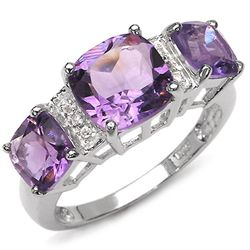 4.26 Carat Genuine Amethyst & White Topaz .925 Sterling Silver Ring