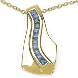 0.66 Carat Genuine Blue Sapphire .925 Sterling Silver 14K Yellow Gold Plated Pendant