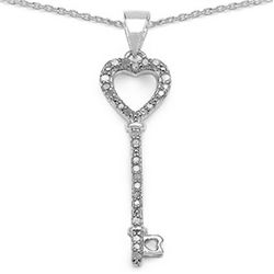 0.17 Carat Genuine White Diamond .925 Sterling Silver Pendant