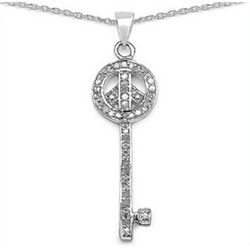 0.26 Carat Genuine Genuine White Diamond Sterling Silver Pendant