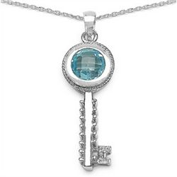 4.75 Carat Genuine Blue Topaz & Diamond Sterling Silver Pendant
