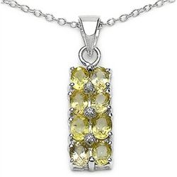 2.03 Carat Genuine Yellow Sapphire & White Topaz .925 Sterling Silver Pendant