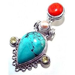 Turquoise, Pearl & Coral Pendant