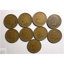 9- INDIAN CENTS ALL XF: 1899,1901,1902,1903,1904,1905,1906,1907,1908