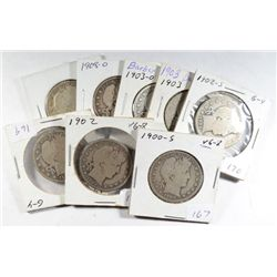 BARBER HALF DOLLAR LOT, 1900-S, 02, 02-S, 02-O, 03, 03-S, 03-O, 08-O, 1912