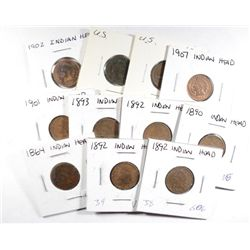 11 INDIAN HEAD CENTS 1864, 1890, 3-1892, 93, 01, 02, 04, 06, 07,