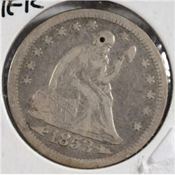1853 SEATED QUARTER ARROWS AND RAYS XF