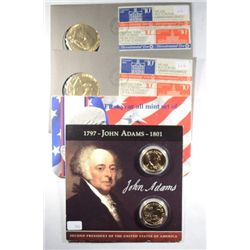 SUSAN B ANTHONY MINT SET, JOHN ADAMS PRES. DOLLAR, 2- BICENTENNIAL 1ST DAY COVER