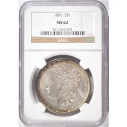 1891 MORGAN DOLLAR NGC MS62 RAINBOW COLORS