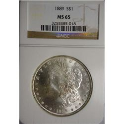 1889 MORGAN SILVER DOLLAR NGC MS65