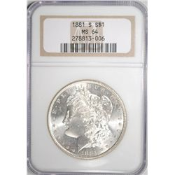 1881-S MORGAN SILVER DOLLAR NGC MS64