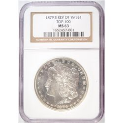 1879-S MORGAN DOLLAR NGC MS63 REV OF 1878 NICE