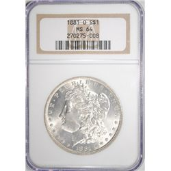 1881-O MORGAN SILVER DOLLAR NGC MS64