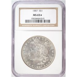 1887 MORGAN SILVER DOLLAR NGC MS 65 STAR!
