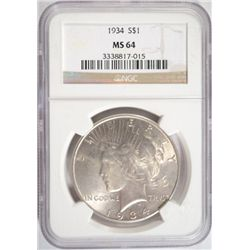 1934 PEACE SILVER DOLLAR NGC MS64