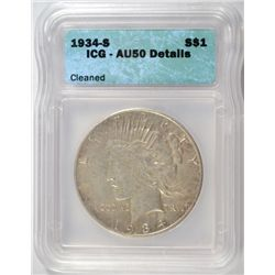 1934-S PEACE DOLLAR ICG AU-50, DETAILS. LIGHT CLEANING