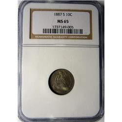 1887-S SEATED DIME NGC MS65 GEM SUPERB COLOR!