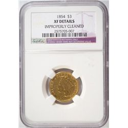 1854 $3.00 GOLD NGC XF CLEANED