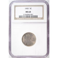 "1905 LIBERTY ""V"" NICKEL  NGC GRADED MS 64"