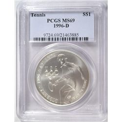 1996-D Tennis Commemorative Silver Dollar PCGS MS69