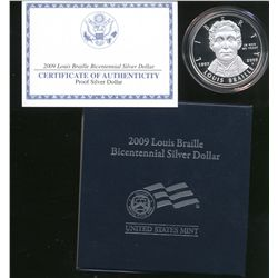 2009 LOUIS BRAILLE PROOF COMMEMORATIVE BICENTENNIAL SILVER DOLLAR