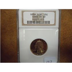 1976-S WASHINGTON QUARTER NGC PF69 CAMEO