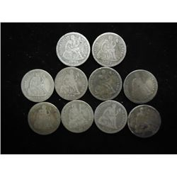 10 ASSORTED 1880'S SEATED LIBERTY DIMES