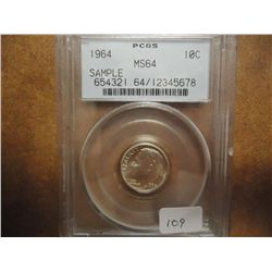 1964 ROOSEVELT DIME PCGS MS64 SAMPLE SLAB