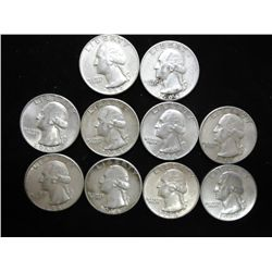 10 1960'S WASHINGTON SILVER QUARTERS