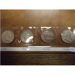 1954,54-S,54-D & 55 FRANKLIN HALF DOLLARS