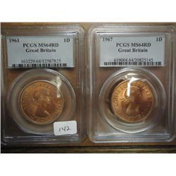 1961 & 67 GREAT BRITAIN PENNYS BOTH PCGS MS64RD