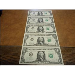 5-2003-A ONE DOLLAR FRN'S CONSECUTIVE LOW SERIAL'S