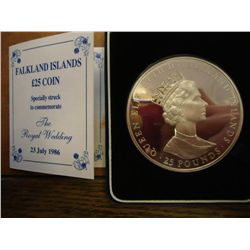 1986 FALKLAND ISLANDS 25 POUND STERLING SILVER PF