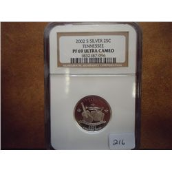 2002-S SILVER TENNESSEE QUARTER NGC PF69 ULTRA CAM