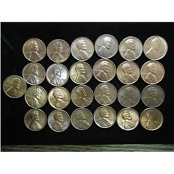 25 ASSORTED UNC LINCOLN CENTS DATES RANGE 1944-58