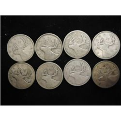 8 ASSORTED 1930'S CANADA SILVER 25 CENTS