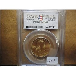 2007-D SACAGAWEA DOLLAR PCGS MS68 SATIN FINISH