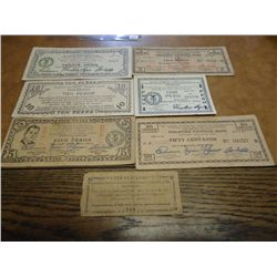 7 PIECES OF WWII PHILIPINNES GUERILLA CURRENCY