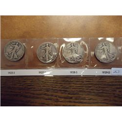 1923-S,27-S,28-S & 29-D WALKING LIBERTY HALVES
