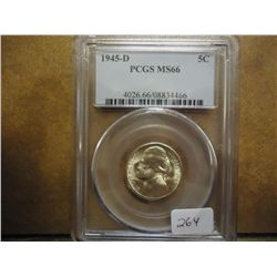 1945-D 35% SILVER JEFFERSON WAR NICKEL PCGS MS66