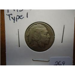 1913-S TYPE I BUFFALO NICKEL (VERY FINE)