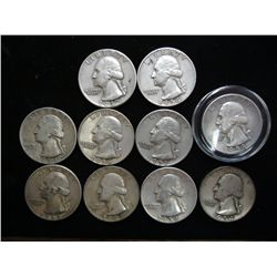 10 ASSORTED 1950'S WASHINGTON SILVER QUARTERS