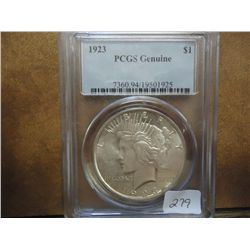 1923 PEACE SILVER DOLLAR PCGS GENUINE