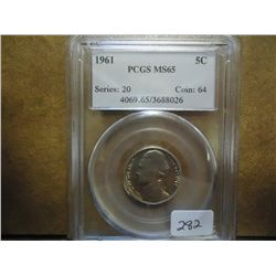 1961 JEFFERSON NICKEL PCGS MS65