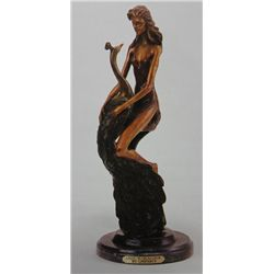 """Lady With Peacock"" Bronze Sculpture - Chiparus"